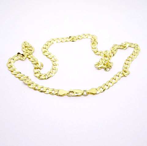 "Sterling silver gold toned 20"" gents curb link chain 33643"