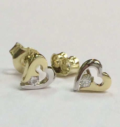 9ct Yellow Gold Earring, 9ct gold two tone CZ set open heart stud earring 12365 - Armin Lowe Jewellers