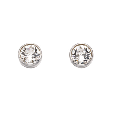 Sterling Silver SWAROVSKI birthstone stud Unisex Earring 32734 APRIL
