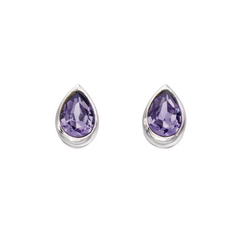 Teardrop Tanzanite Swarovski set sterling silver stud earring 32994