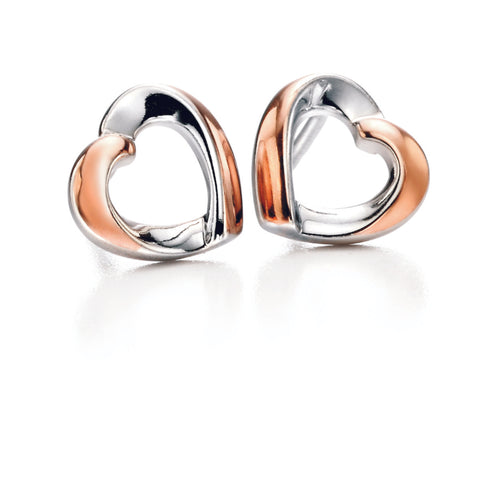 Sterling silver rose gold plated Fiorelli Ribbon heart earrings 12638