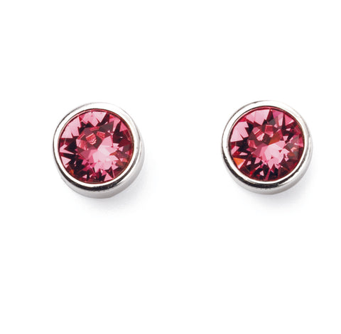 October Rose Sterling silver Birthstone stud earrings featuring crystals from Swarovski. 32738
