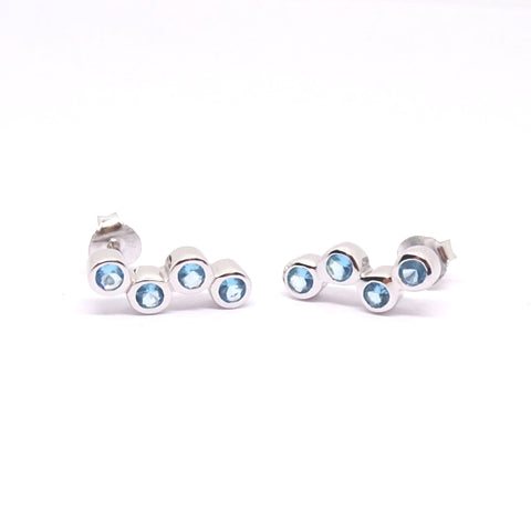Aquamarine blue CZ Bubble earrings 34101