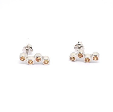 Champagne CZ Bubble earrings in Sterling Silver 34099