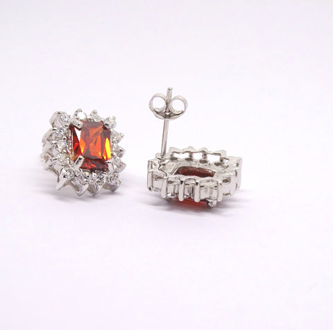 Rectangular Garnet red CZ cluster studs 34088