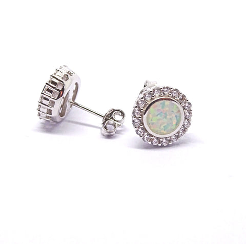 Round created Opal studs in Sterling Silver 34070