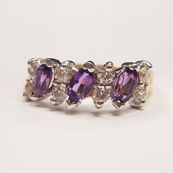 9ct Yellow Gold CZ/Amethyst Ladys Ring 33053