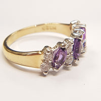 9ct Yellow Gold Ring, 9ct gold round paired CZ and Marquise faceted Amethyst alternate set at angle 33053 - Armin Lowe Jewellers