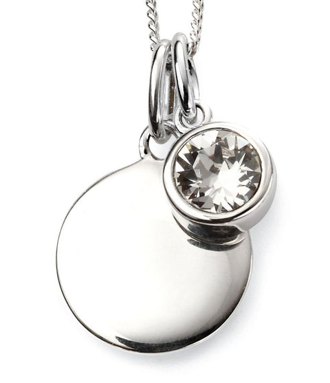 Sterling Silver engraveable birthstone Pendant 32722 APRIL