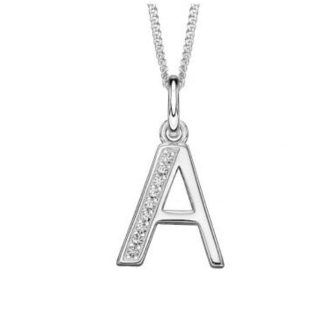 Sterling silver CZ set Art Deco initial A 33527