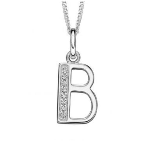 Sterling silver CZ set Art Deco initial B 33528