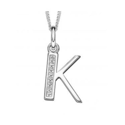 Sterling silver CZ set Art Deco initial K 33536