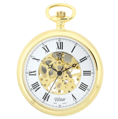 Telstar mechanical skeleton pocket watch, polished yellow gold plated finish 32654