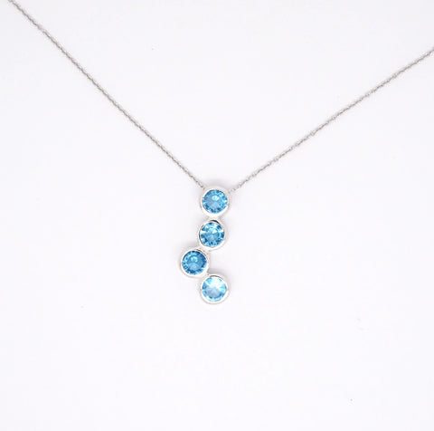 Aquamarine blue CZ Bubble necklet in sterling Silver 34100