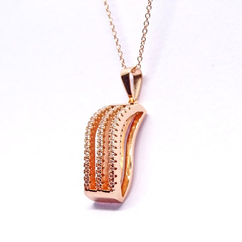 Rose gold toned wave pendant 34075