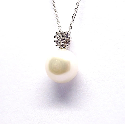 Bouton pearl and CZ pendant 34119