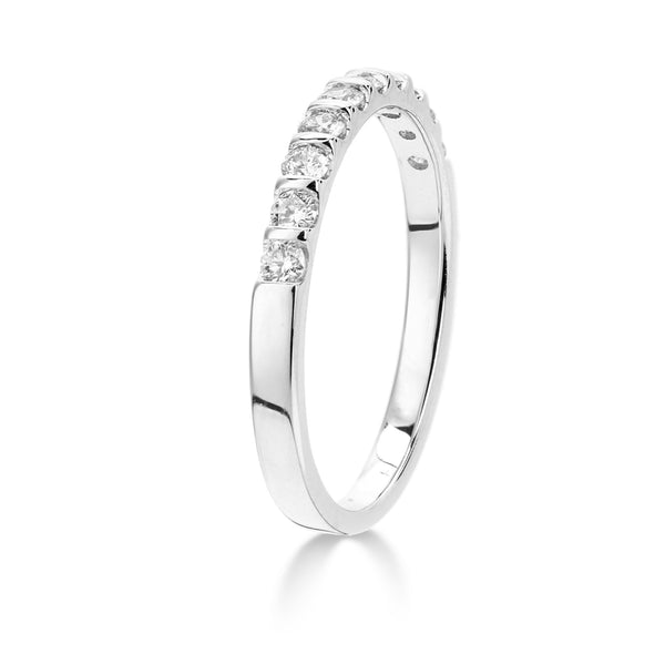 18ct White Gold Ring, 18ct gold half hoop smooth bar setting 0.33ct Diamond (GH-SI2) set eternity ring, 2.7mm width, Wedd fit, available sizes K-P 32308