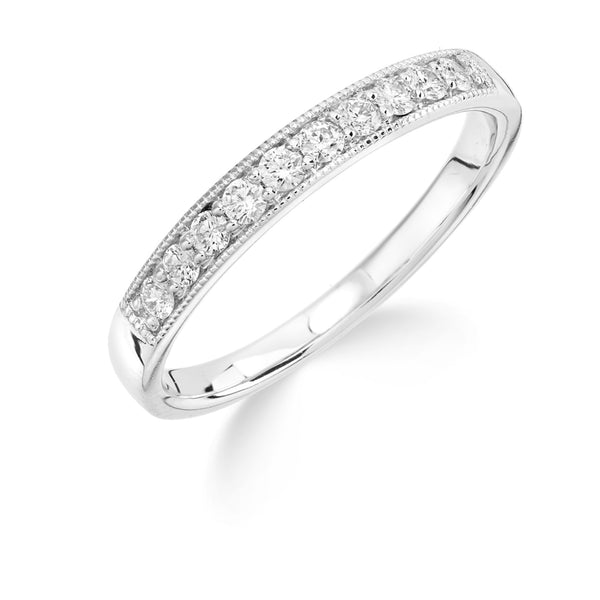 18ct White Gold Ring, 18ct white gold 3mm eternity band grain set 0.25ct diamond with beaded edge, GH-SI2, Wedd fit, available sizes K-P 32303