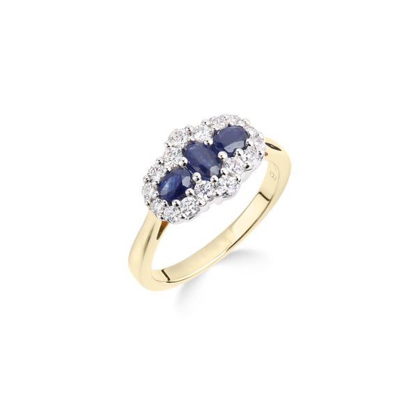 9ct Yellow Gold Ring, 9ct gold Diamond (0.50ct) and Sapphire (4x3, 5x3, 4x3mm) dress ring 33003