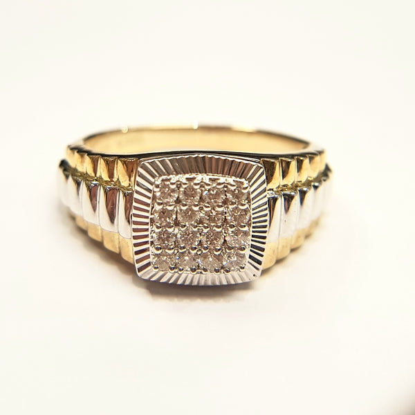 9ct Yellow Gold Diamond Gents Ring 33035
