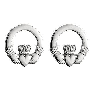 14ct White Gold Earring, 14k white Claddagh stud small 25657 - Armin Lowe Jewellers Sligo