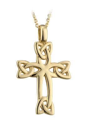 "9ct yellow gold Celtic cross on 18""/46cm chain 26258"