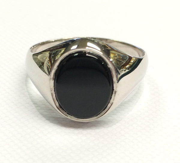 Sterling Silver Onyx Gents Ring 31371