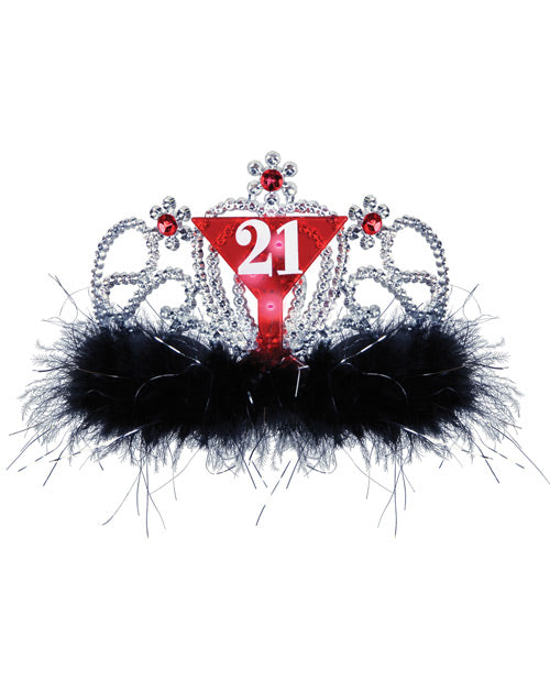 21st Birthday Flashing Tiara - Black-red
