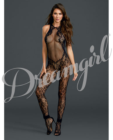 Fishnet & Floral Bodystocking Black O-s