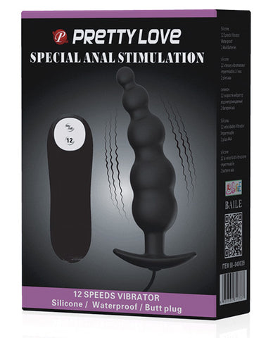 Pretty Love Vibrating Bead Shaped Butt Plug - Black