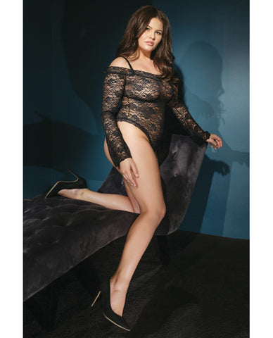 Bold Stretch Lace Teddy W-removable Straps & Snap Crotch Black Qn
