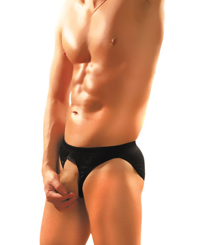 Male Power Nylon Spandex Pouchless Brief Black O-s