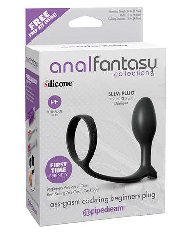 Anal Fantasy Ass-gasm Cockring Beginners Plug - Black