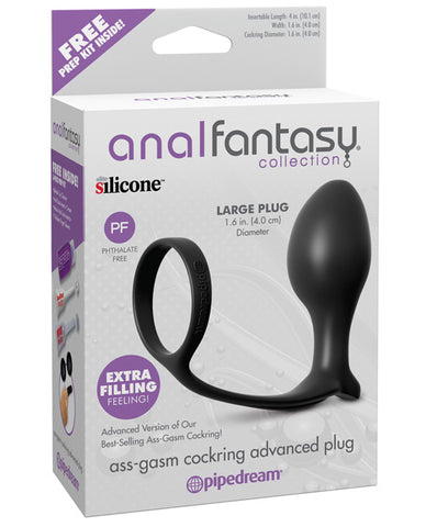 Anal Fantasy Collection Ass Gasm Cockring Advanced Plug - Black