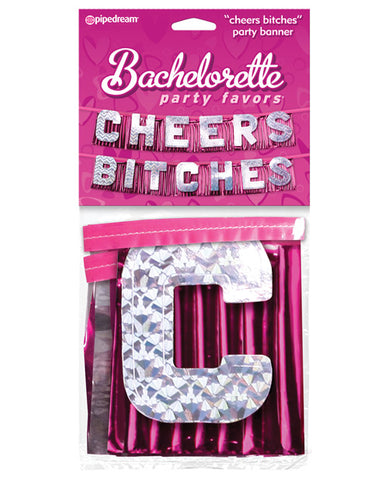 Bachelorette Party Favors Cheers Bitches Party Banner - Silver