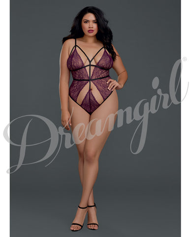 Strappy Lace Teddy Sparkling Grape Qn