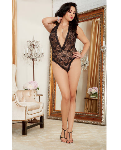 Halter Stretch Lace Teddy W/plunging Neckline, Halter Ties & Heart Cut Out On Back Qn
