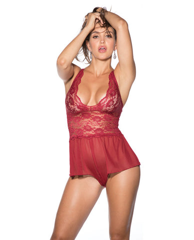 Stretch Lace & Mesh Teddy Burgundy