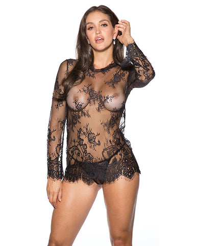 Eyelash Lace Chemise W-g-string Black Xl