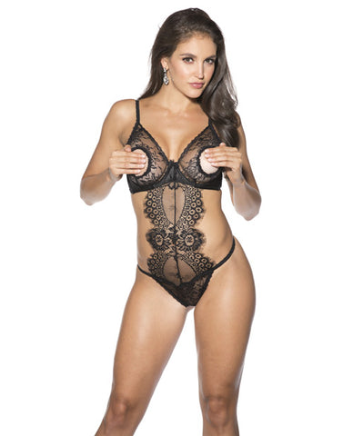 Eyelash Lace Cut-out Teddy Black 2x