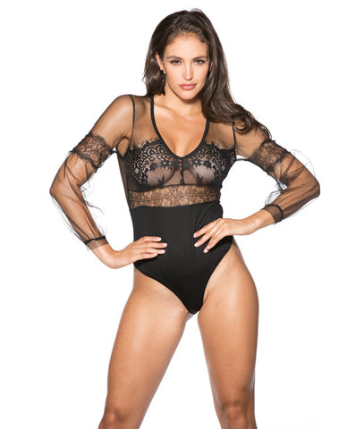 Mesh & Lace Long Sleeve Teddy Black 2x