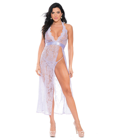Lace Open Side Slit Long Dress Satin Belt W-g-string Lilac 2x