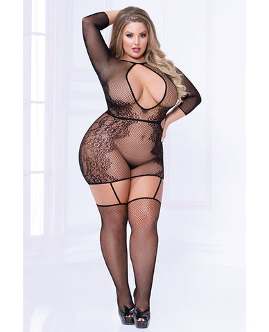 Seamless Floral Pattern Bodystocking Dress (thong Not Included) Black Qn