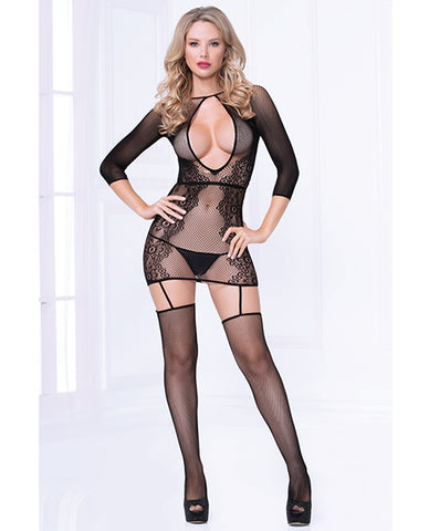 Seamless Floral Pattern Bodystocking Dress (thong Not Included) Black O-s