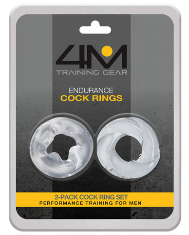 4m Training Gear Endurance Cock Rings - Clear Pack Of 2