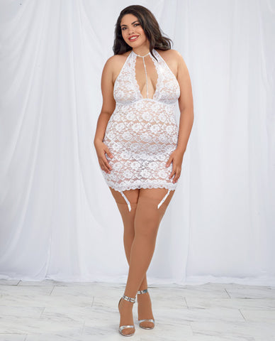 Stretch Lace Halter Chemise W-removable & Adjustable Garters& G-string White Qn