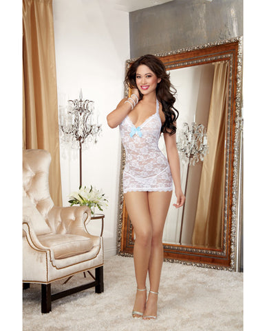Stretch Lace T-back Chemise W-pearl Strand Accent & Lace Thong White O-s