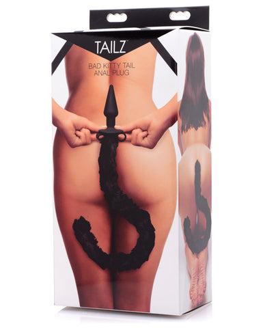 Tailz Bad Kitty Silicone Cat Tail Anal Plug - Black