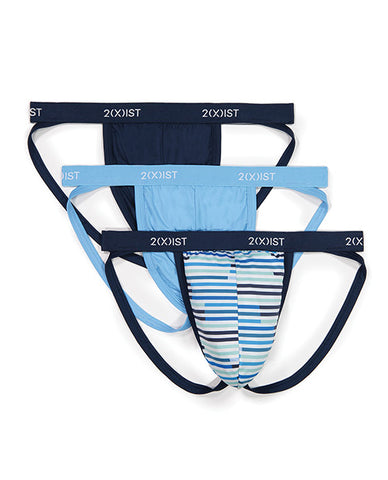 2xist 3 Pk Micro Speed Dri Jock Strap Navy, Sunset Stripe, & Alaskan Blue