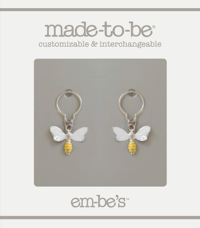 2 Charm Set - White Bee